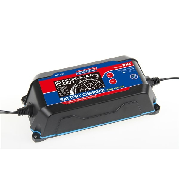 WATERPROOF 12V BATTERY CHARGER 2/10 AMP WITH POWER SUPPLY FUNCTION