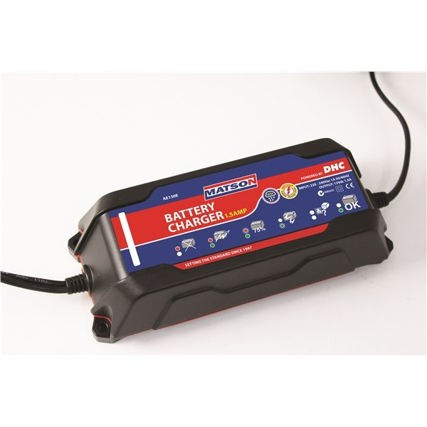 WATERPROOF 12V BATTERY CHARGER 1.5 AMP
