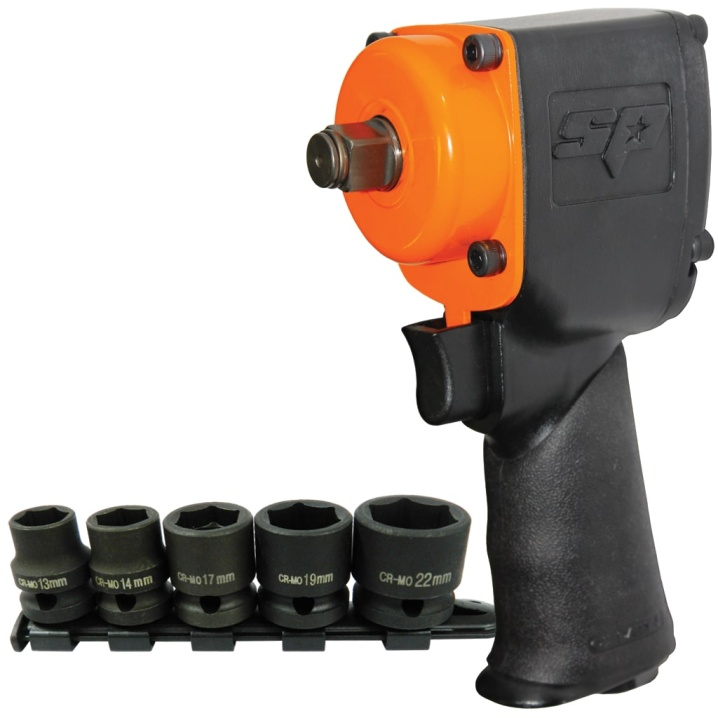 "1/2"" Dr Stubby Impact Wrench +  Free Impact Socket Rail Set"