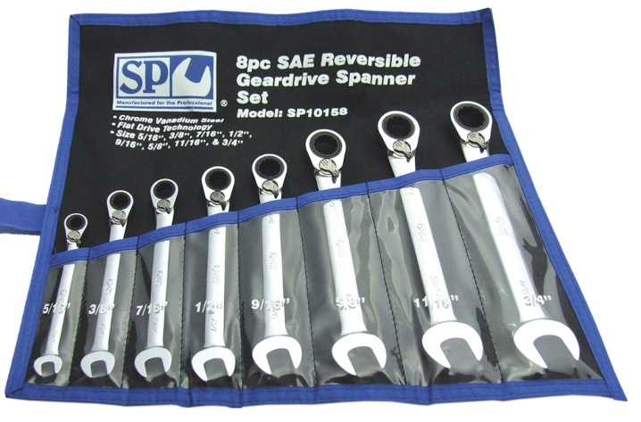 8pc SAE 15° Offset Reversible Geardrive Spanner Set