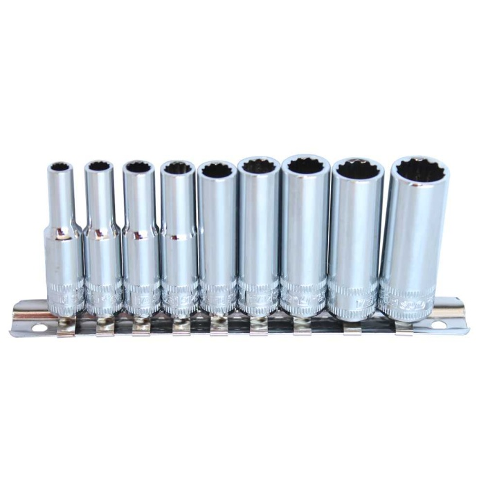 "1/4""DR DEEP SOCKET RAIL SET - 12PT SAE - 9PC"