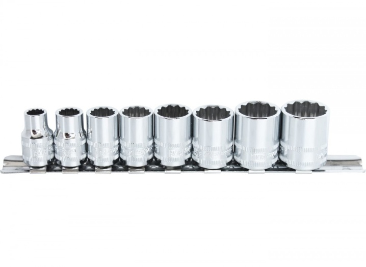 "3/8""DR SOCKET RAIL SET - 12PT SAE - 8PC"