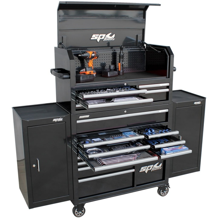 SUMO SERIES POWER HUTCH TOOL KIT WITH DUAL SIDE CABINETS - 527PC - METRIC/SAE - BLACK/CHROME HANDLES