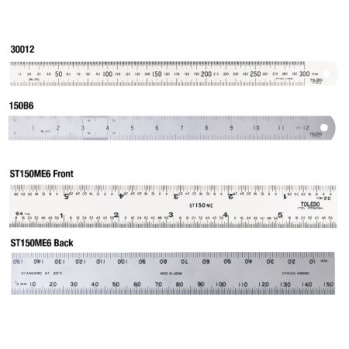 Metric & English Stainless Steel Rulers - Double Sided