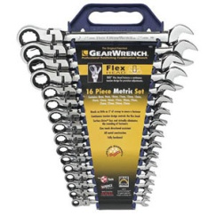 GEARWRENCH 16PC FLEX-HEAD COMB. WRENCH SET (8-25MM)