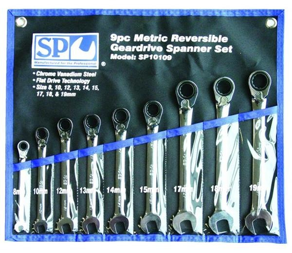 9pc Metric 15° Offset Reversible Geardrive Spanner Set