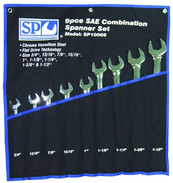 9pc SAE Jumbo Combination Wrench/Spanner Set