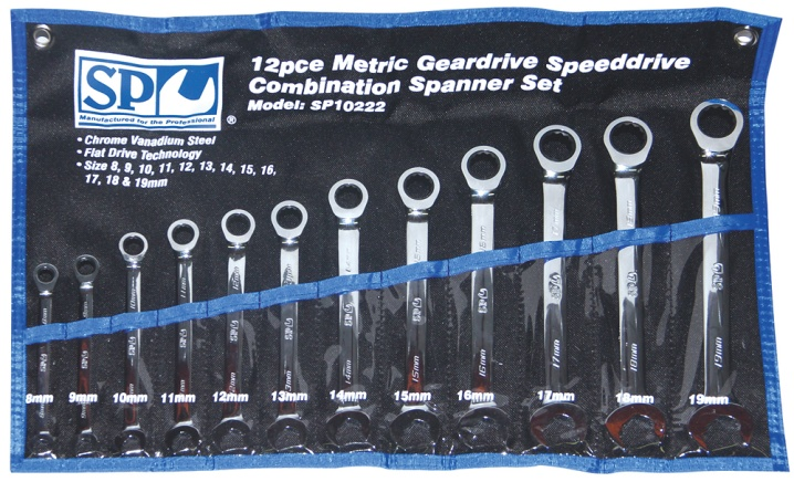 12pc Metric 0° Speeddrive Combination Geardrive Wrench/Spanner Set