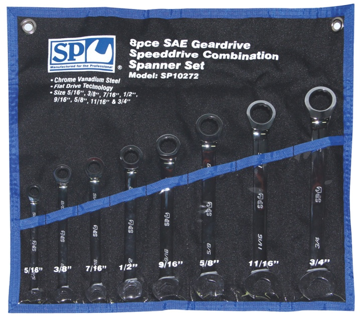 8pc SAE 0° Speeddrive Combination Geardrive Wrench/Spanner Set