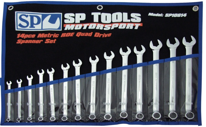 14pc Metric ROE Quad Drive Wrench/Spanner Set