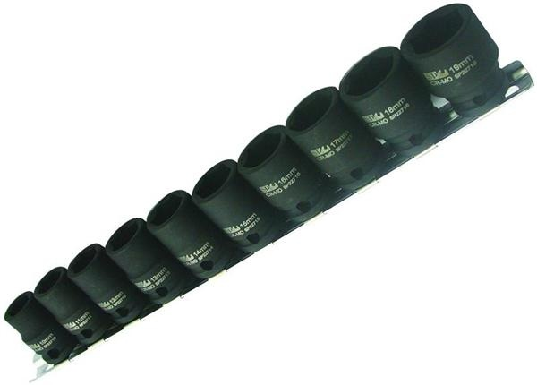 "3/8"" Dr Metric Impact Socket Rail Set 10pc"