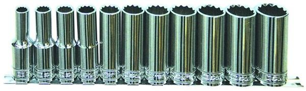 "11pc 1/2"" Dr 12pt SAE Deep Socket Rail Set 12pt"