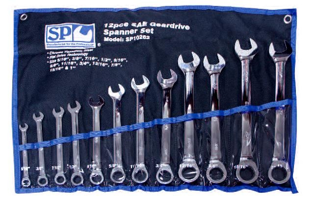 12pc SAE 0° Offset Geardrive Wrench/Spanner Set